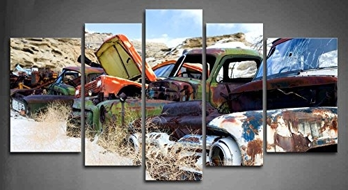 Amazon: Wall Art Painting 5 Panel Old Classic And Vintage Cars Regarding Well Known Classic Car Wall Art (View 3 of 15)