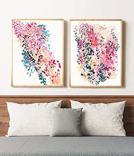 Amazon: Wall Art Posters Set Of 2, Wall Art Prints,abstract Art Pertaining To Fashionable Abstract Wall Art Posters (View 6 of 15)