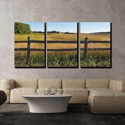 Amazon: Wall26 – 3 Piece Canvas Wall Art – An Old Wood Fence Pertaining To Current Country Canvas Wall Art (View 4 of 15)