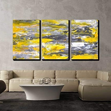 Amazon: Wall26 – 3 Piece Canvas Wall Art – Grey And Yellow For Most Recent Grey Abstract Canvas Wall Art (View 2 of 15)