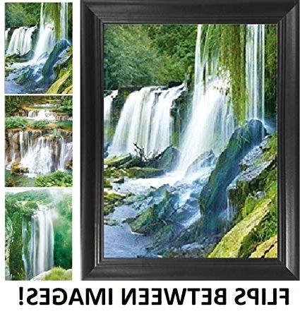 Amazon: Waterfall Wall Art Framed 3D Poster – Beautiful Nature Regarding 2018 Waterfall Wall Art (View 2 of 15)