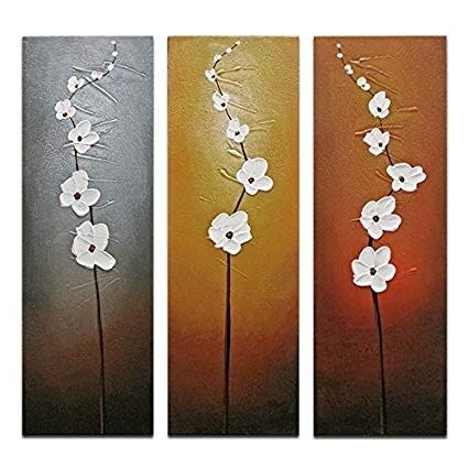 Amazon: Wieco Art 3 Piece White Flowers Oil Paintings On Canvas Throughout Trendy 3 Piece Floral Canvas Wall Art (Gallery 6 of 15)