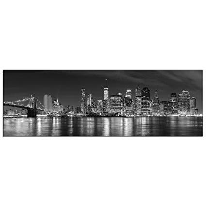 Amazon: Wieco Art New York Manhattan Night View In Black And Inside Most Current Black And White New York Canvas Wall Art (View 5 of 15)