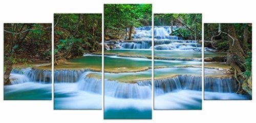 Amazon: Wieco Art – Peaceful Waterfall Modern 5 Piece Stretched With Regard To Most Recent Waterfall Wall Art (Gallery 2 of 15)