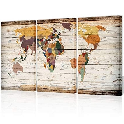 Amazon: Xlarge Vintage World Map Canvas Prints Atlas Framed Map Pertaining To Most Up To Date Atlas Wall Art (Gallery 5 of 15)