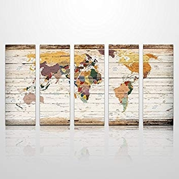 Amazon: Xxlarge Vintage World Map Canvas Prints Atlas Framed Map Intended For Most Recent Atlas Wall Art (View 3 of 15)