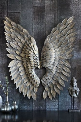 Angel Wings Wall Art Pertaining To 2017 Gilt Metal Angel Wings Wall Art Feather Effect – Free Delivery (Gallery 12 of 15)