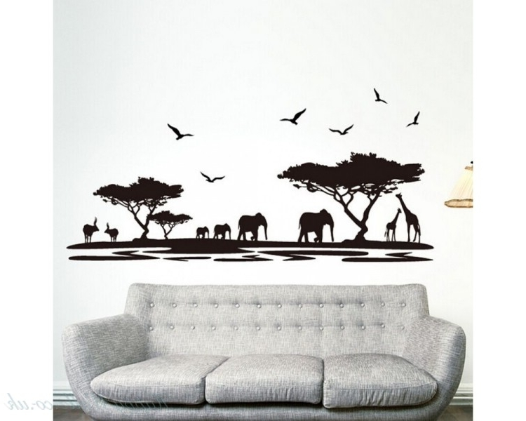 Animal Wall Art Inside Most Recent Safari Wall Sticker Tree Wall Stickers With Giraffe Elephant Deer (View 12 of 15)