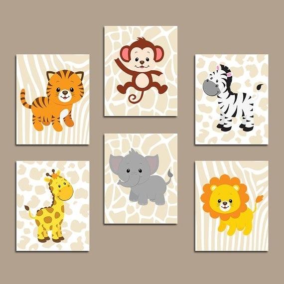 Animal Wall Art Inside Newest Baby Boy Safari Nursery Wall Art, Jungle Animals Decor, Canvas Or (Gallery 5 of 15)