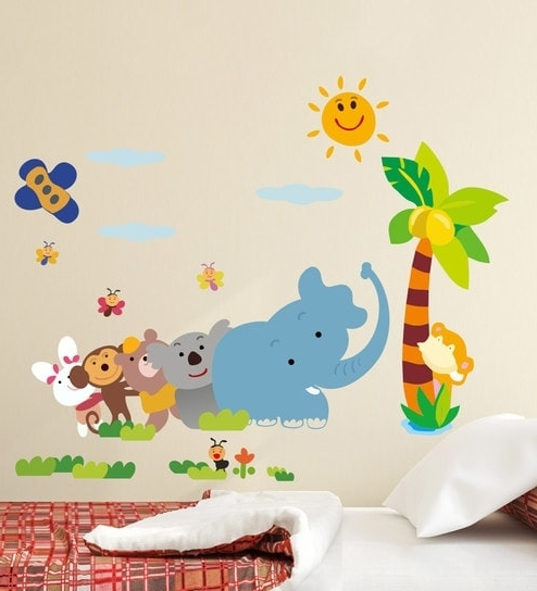Animal Wall Art Intended For Most Recently Released Buy Multicolour Pvc Vinyl Jungle Cartoons Cute Animals Wall Sticker (View 5 of 15)