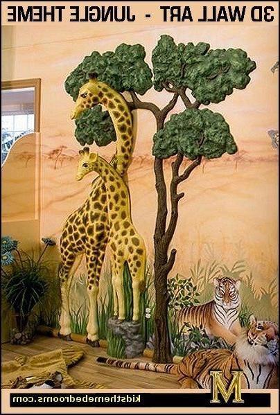 Animals 3D Wall Art With Regard To Best And Newest Giraffe 3D Wall Art Jungle Theme Bedrooms – Safari Jungle Themed (View 5 of 15)