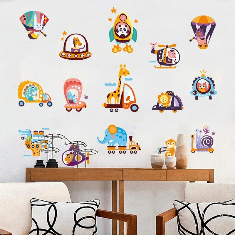 Animals Drive Car Cartoon Children Wall Stickers For Kids Rooms Within Fashionable Children Wall Art (View 12 of 15)