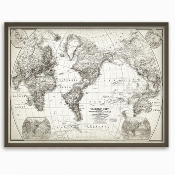 Antique Map Wall Art Intended For Recent Rustic World Map Wall Art Poster – From Quantumprints On Etsy (View 2 of 15)