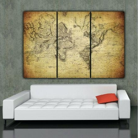 Antique World Map On Canvas Copy Wall Arts Old World Map Art Canvas Inside Preferred Antique Map Wall Art (View 4 of 15)