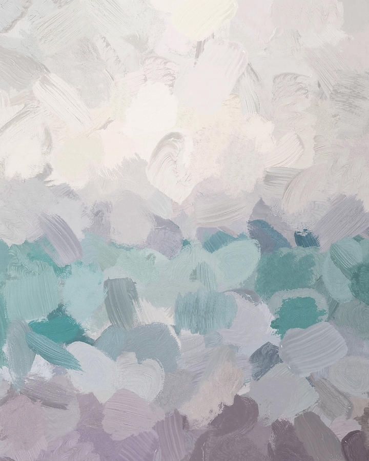 Aqua Abstract Wall Art Inside Preferred Teal Aqua Purple Lavender Abstract Wall Art Ocean Clouds Painting (View 9 of 15)
