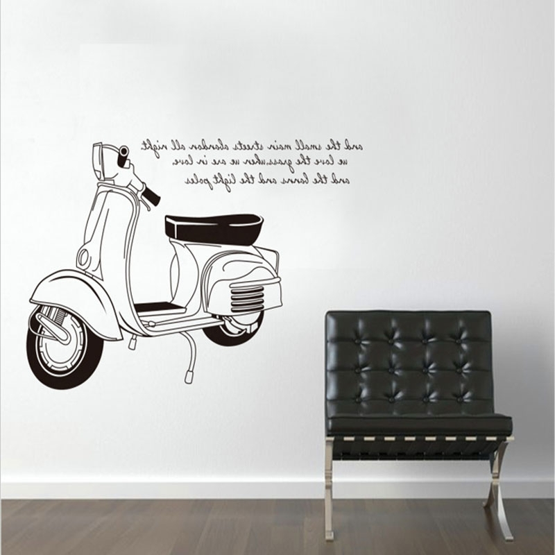 Art Bar Home Decor For Kids Rooms Black And White Motorcycle Quote For Well Known Vespa 3D Wall Art (View 14 of 15)