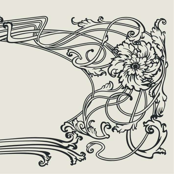 Art Nouveau Vinyl Wall Decal Vintage Sticker Art, Headboard, Free Within Well Known Art Nouveau Wall Decals (View 14 of 15)