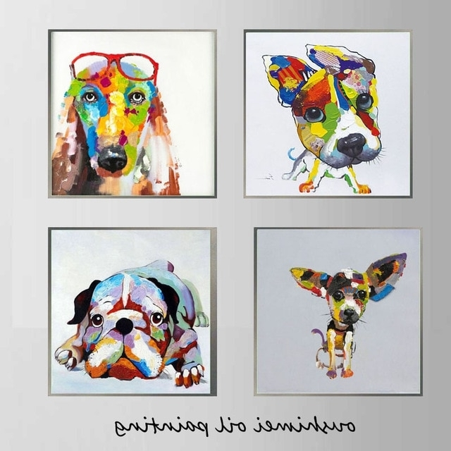 Artist Hand Painted High Quality Modern Abstract Dog Wall Art Throughout Widely Used Abstract Dog Wall Art (View 2 of 15)