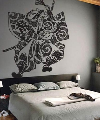 Asian Art Wall Stickers :: Samurai Fighter Wall Decal Pertaining To 2017 Samurai Wall Art (View 14 of 15)