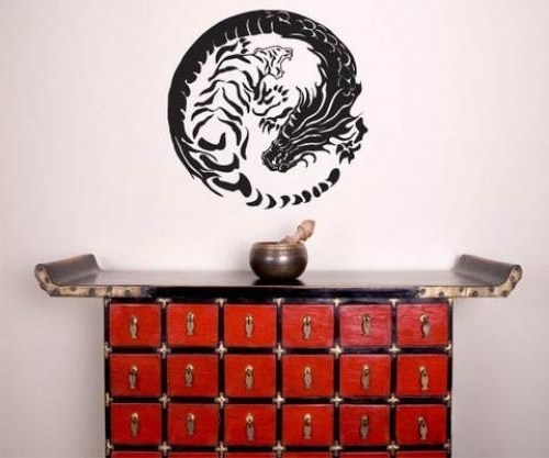 Asian Art Wall Stickers :: Tiger Dragon Yin Yang Wall Decal Throughout Most Recent Yin Yang Wall Art (Gallery 6 of 15)