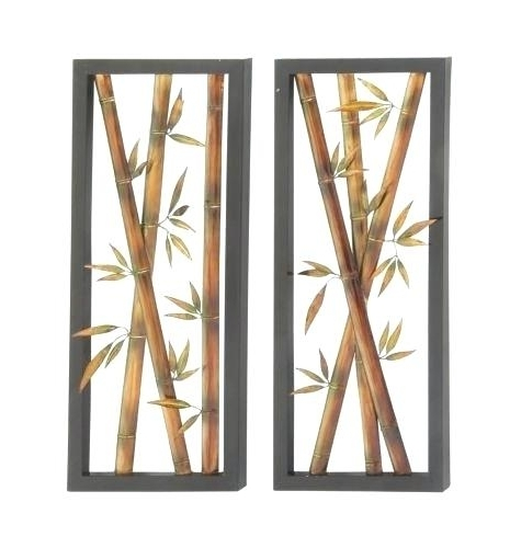 Asian Metal Wall Art Within Current Asian Metal Wall Art Brown Black Bamboo Metal Wall Art Sculpture (View 10 of 15)