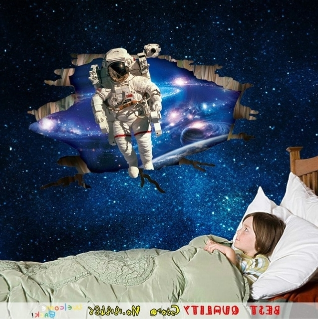 Astronaut 3D Wall Art Inside 2017 Hot Baby Dream Outer Space Wall Stickers Astronaut Spaceman 3D Wall (View 3 of 15)