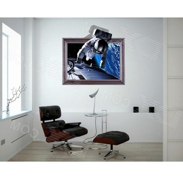 Astronaut 3D Wall Art Regarding Favorite 3D Astronauts Wall Sticker Decal – Sapphire + Silver – Free Shipping (View 5 of 15)