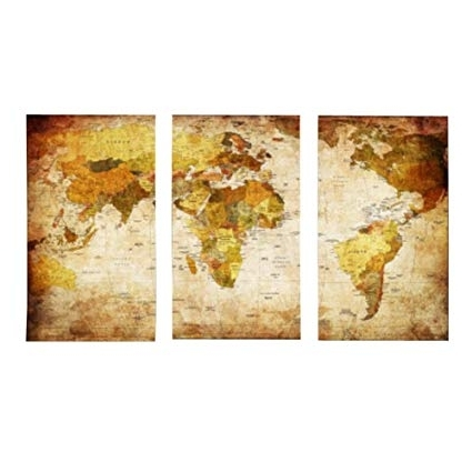 Atlas Wall Art Inside Most Recently Released Amazon: Hippodoctor Wall Art 3 Panel Canvas Posters World Map (Gallery 11 of 15)