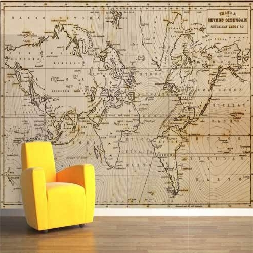 Atlas Wall Art With Trendy Magnetic Curves Map Wall Mural Big Global World Map Atlas Vinyl Wall (View 6 of 15)