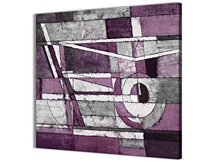 Aubergine Wall Art With Regard To Best And Newest Wallfillers Aubergine Grey White Painting Abstract Bedroom Canvas (View 6 of 15)
