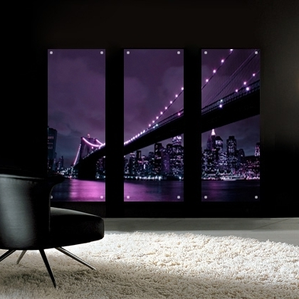 Aubergine Wall Art With Regard To Preferred Aubergine Brooklyn Bridge Perspex Acrylic Art. Bathroom Art (View 8 of 15)