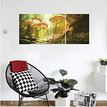 Autumn  Inspired Wall Art Pertaining To Well Known Amazon: Liguo88 Custom Canvas Fantasy Decor Forest With (View 6 of 15)