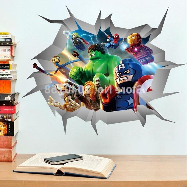 Avengers 3D Wall Art Inside Recent Avengers Lego 3D Through Wall Stickers Decals Art For Baby Nursery (View 3 of 15)