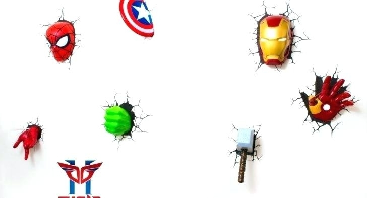 Avengers 3D Wall Art With Widely Used Avengers 3D Wall Light Amazon Marvel Bedroom Lights Lamp Jellyfish (View 6 of 15)