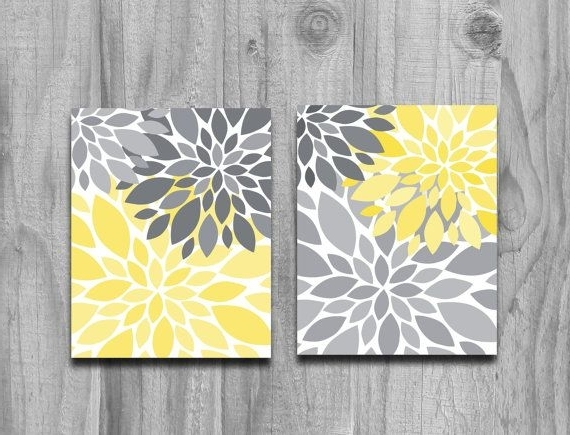Awesome To Do Yellow And Grey Wall Art Home Decor Ideas Gray Canvas With Regard To 2018 Gray And Yellow Wall Art (View 6 of 15)