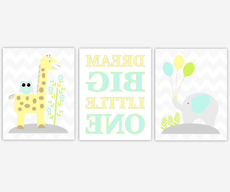 Baby Boys Nursery Canvas Wall Art Yellow Teal Aqua Dream Big Little With Most Popular Canvas Prints For Baby Nursery (View 12 of 15)
