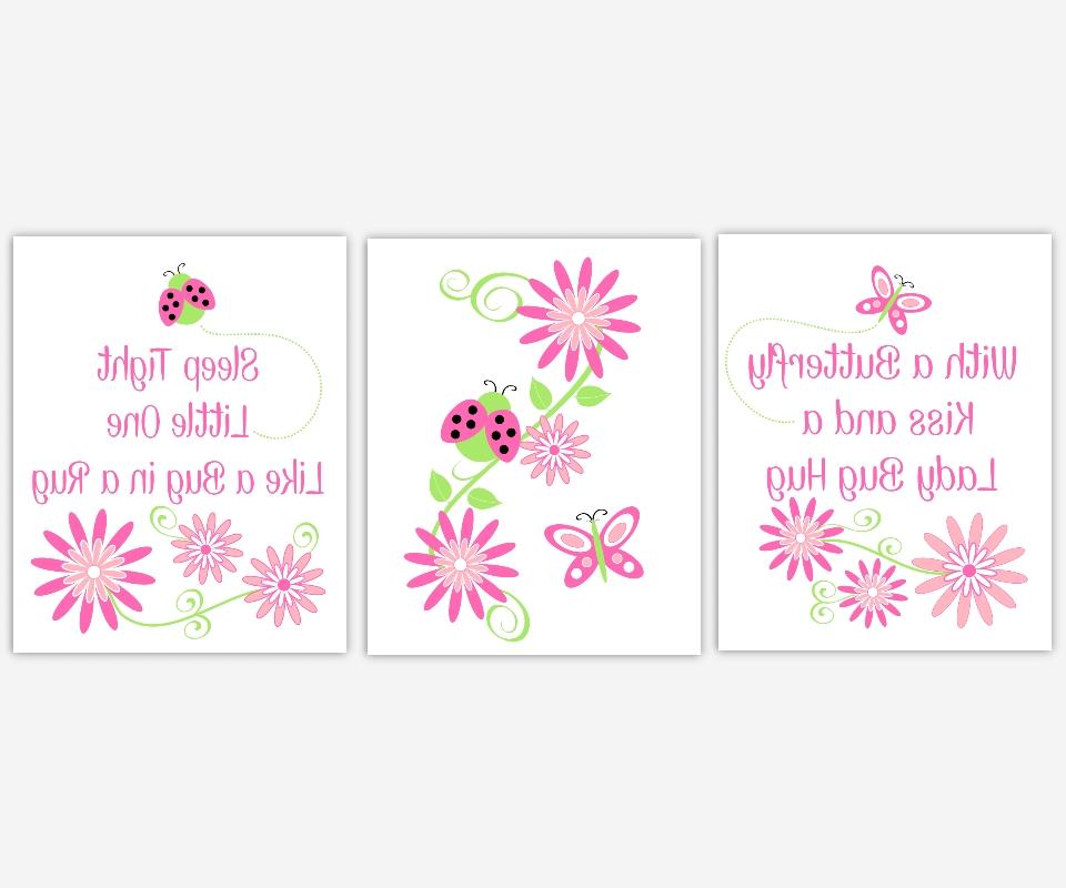 Baby Girls Canvas Nursery Wall Art Hot Pink Lime Green Butterfly Regarding Most Recent Girls Canvas Wall Art (View 1 of 15)