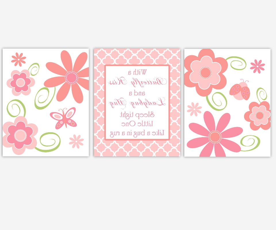 Baby Girls Canvas Nursery Wall Art Pink Coral Flowers Ladybug Pertaining To Well Liked Girls Canvas Wall Art (View 2 of 15)
