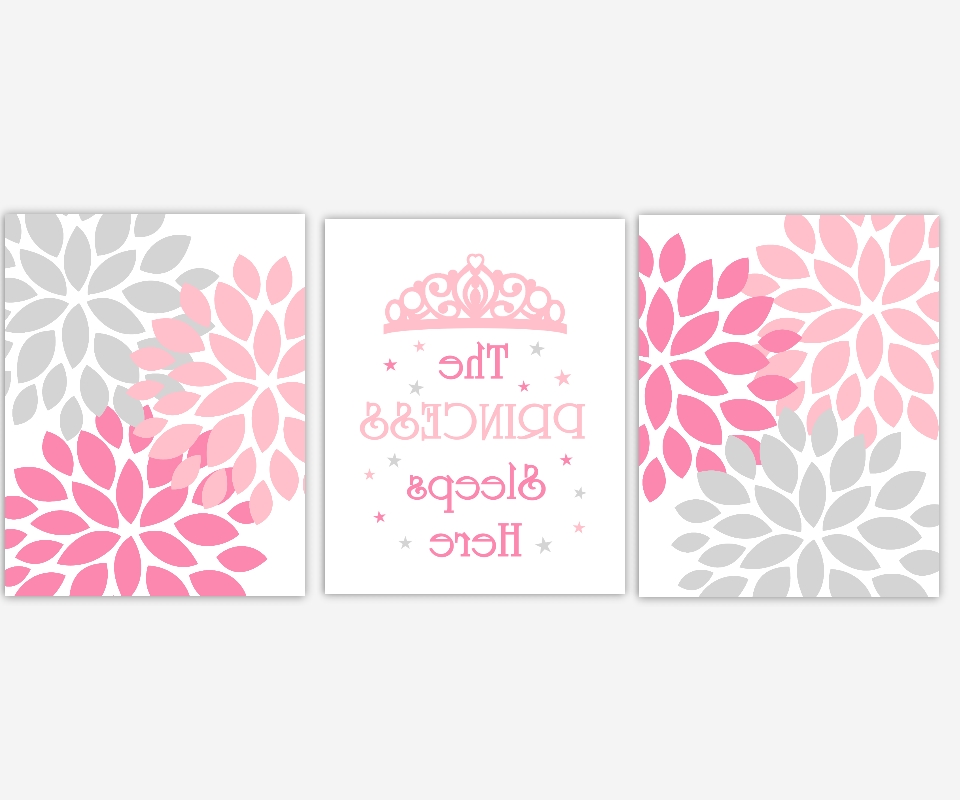 Baby Girls Canvas Nursery Wall Art Pink Gray Grey Princess Sleeps In Favorite Girls Canvas Wall Art (View 3 of 15)