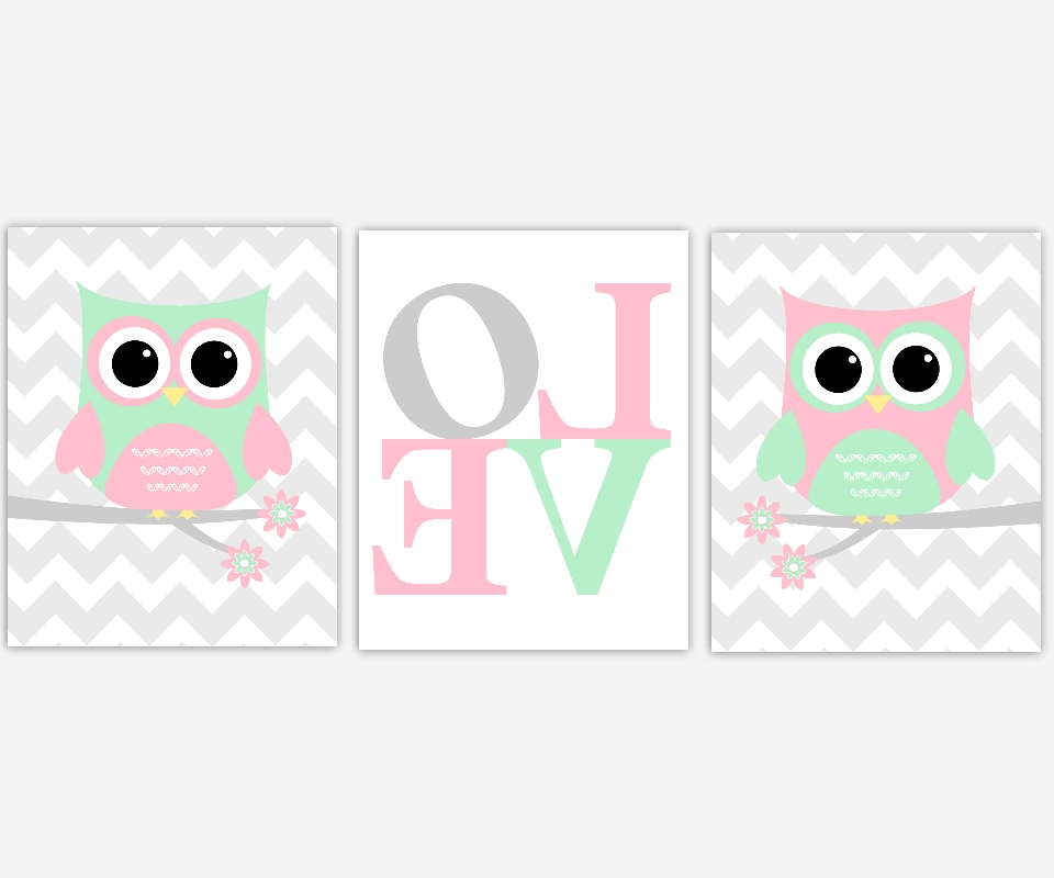 Baby Girls Canvas Nursery Wall Art Pink Green Gray Grey Owl Love Intended For Newest Girls Canvas Wall Art (View 13 of 15)