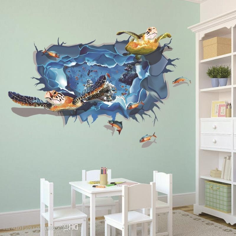 Baby Nursery 3D Wall Art Inside Most Recent 3D Cartoon Turtle Wall Art Mural Decal Sticker Decor Kids Babies (View 3 of 15)