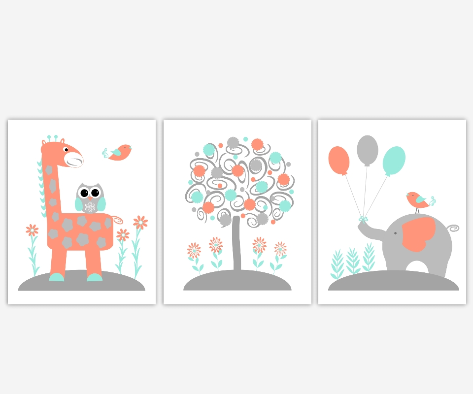 Baby Nursery Canvas Wall Art Coral Teal Aqua Gray Grey Elephant For Recent Jungle Canvas Wall Art (View 15 of 15)