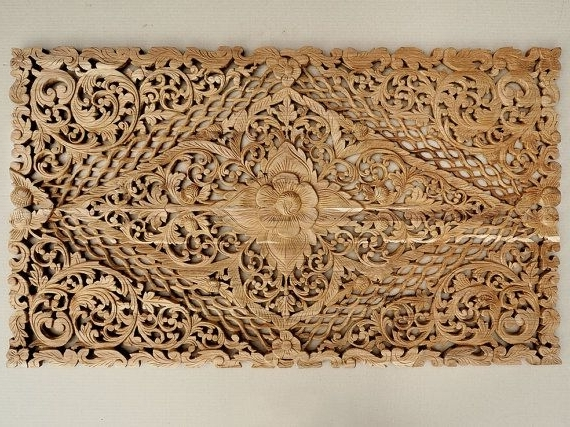 Balinese Wall Art With Regard To 2018 Balinese Wall Art Natural Hand Carved Wood Bed Headboard Balinese (View 10 of 15)