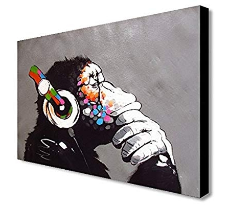 Banksy Canvas Wall Art For Latest Banksy Dj Monkey Canvas Wall Art Print Various Sizes (A1 32X24Inch (View 3 of 15)