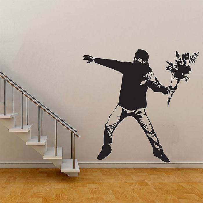 Banksy Flower Thrower Graffiti Vinyl Wall Art Decal With Most Recent Graffiti Wall Art Stickers (View 2 of 15)