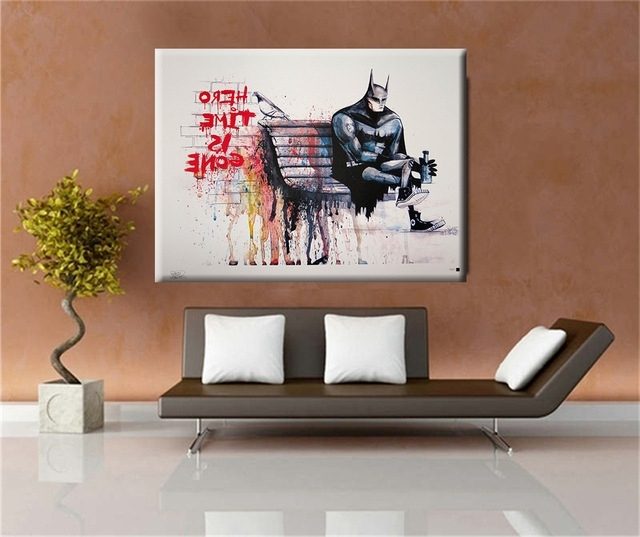Banksy Hero Time Is Gone Canvas Art Print Home Huge Canvas Painting Pertaining To Well Known Huge Wall Art Canvas (View 2 of 15)
