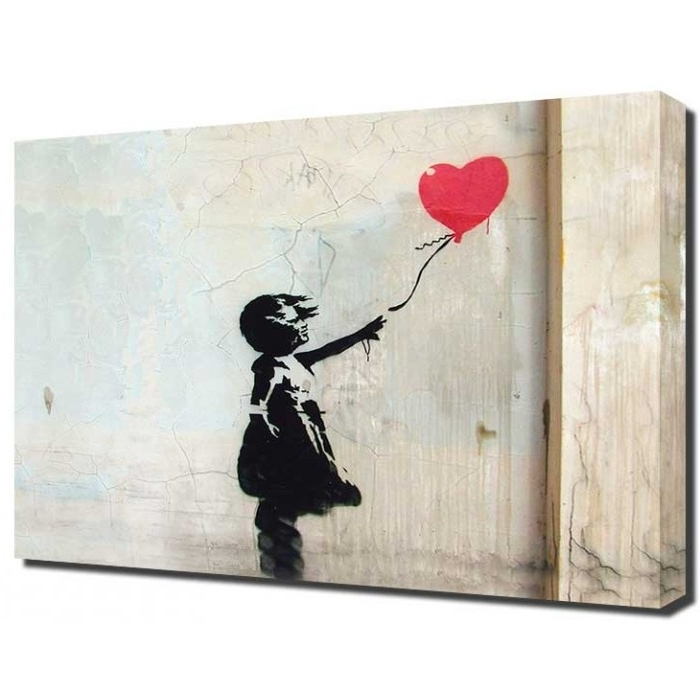 Banksy Wall Art Canvas In Current Banksy Canvas Red Balloon Girl (View 2 of 15)