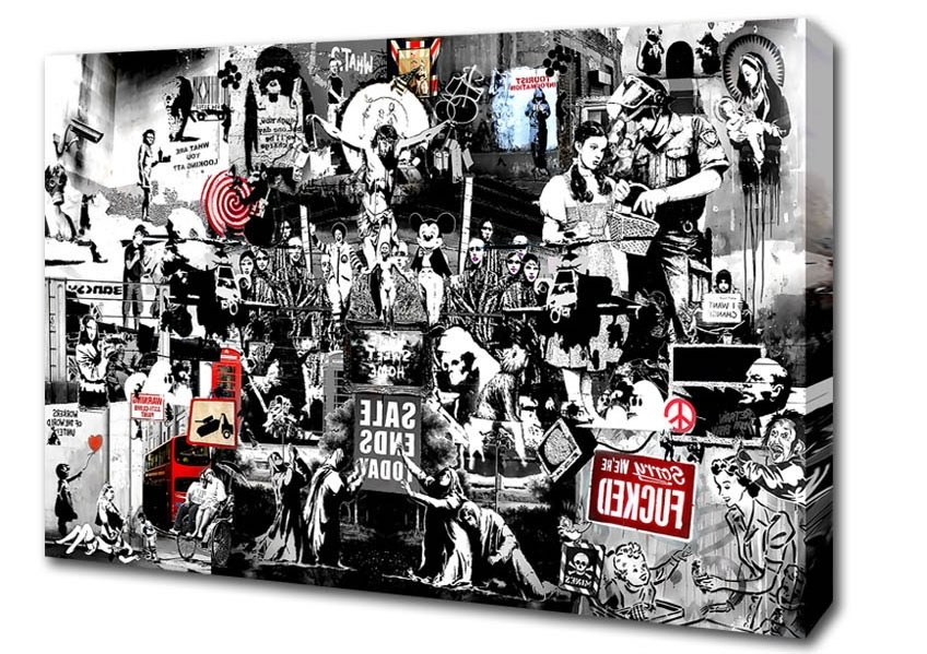 Banksy Wall Art Canvas in Current Banksy Collage 1Bw Banksy Canvas Stretched Canvas