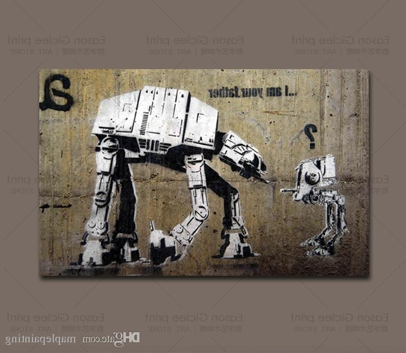 Banksy Wall Art Canvas Intended For Fashionable 2018 Banksy Street Art I'm Your Father Home Decor Wall Art Painting (View 4 of 15)