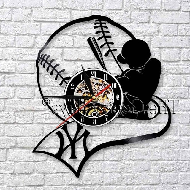 Baseball 3D Wall Art In 2017 1Piece American Professional Baseball Team Player 3D Wall Clock (View 11 of 15)